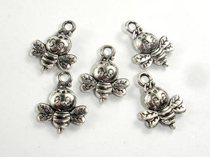 Honey Bee Charms, Zinc Alloy, Antique Silver Tone 20pcs-BeadBasic