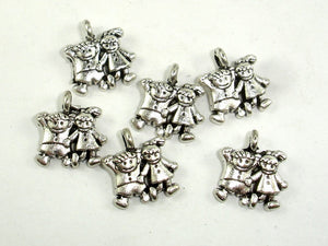 Girl and Boy Charms, Zinc Alloy, Antique Silver Tone 20pcs-BeadBasic