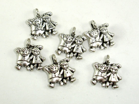 Girl and Boy Charms, Zinc Alloy, Antique Silver Tone, 11x13 mm