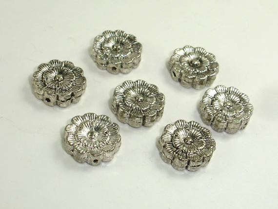 Flower Spacer, Flower Beads, Zinc Alloy, Antique Silver Tone 10pcs-BeadBasic