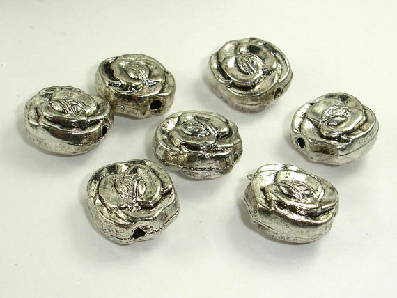 Flower Spacer, Flower Beads, Zinc Alloy, Antique Silver Tone