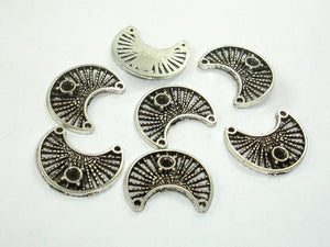Metal Moon Connector Links, Zinc Alloy, Antique Silver Tone 50pcs-BeadBasic