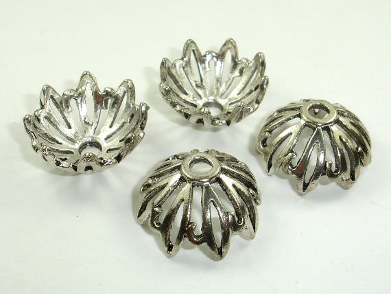 Bead Caps, Jewelry Findings, Zinc Alloy, Antique Silver Tone
