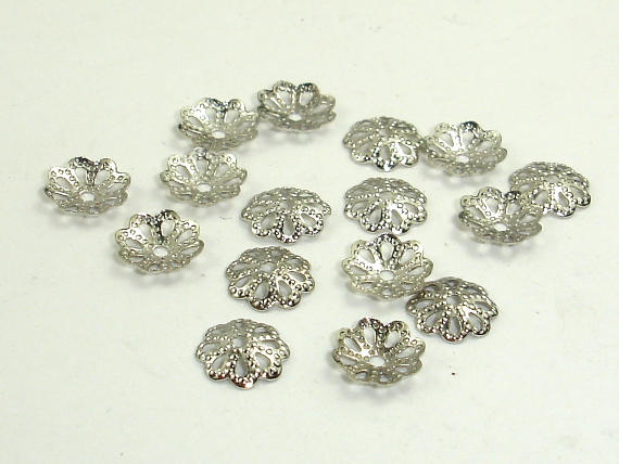 Bead Caps, Rhodium Plated, 6mm, 300 pcs