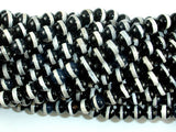 Black Onyx Beads, with White Line, 6mm Round Beads, 15 Inch