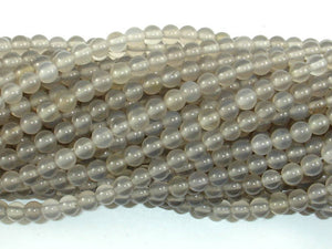 Gray Agate Beads, 4mm, Round Beads-BeadBasic