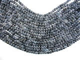 Black Crackle Agate, 6mm Faceted Round Beads, 13 Inch, Full strand
