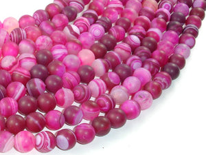 Matte Banded Agate Beads, Fuchsia Agate, 8mm Round Beads-BeadBasic