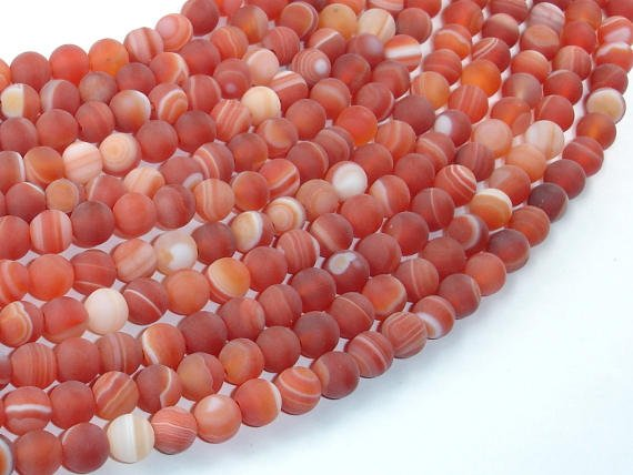 Matte Banded Agate Beads, Red & Orange, 6mm Round Beads-BeadBasic