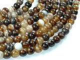 Banded Agate Beads, Brown, 8mm(8.4mm) Round-BeadBasic