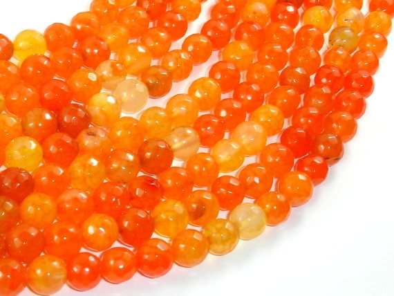 Dragon Vein Agate Beads, Orange, 8mm Faceted Round Beads-BeadBasic