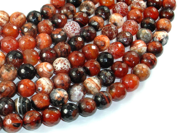 Fire Agate Beads, 10mm Faceted Round-BeadBasic