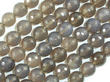 Gray Agate Beads, 10mm Faceted Round Beads-BeadBasic