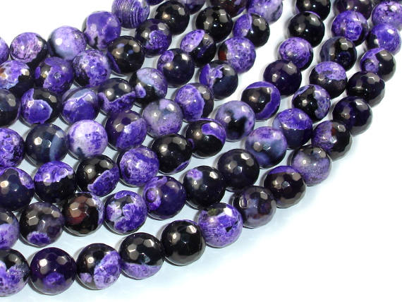 Agate Beads, Purple & Black, 10mm Faceted Round, 15.5 Inch