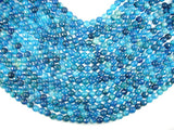 Blue Agate Beads, 8mm Faceted Round Beads, 15 Inch, Full strand