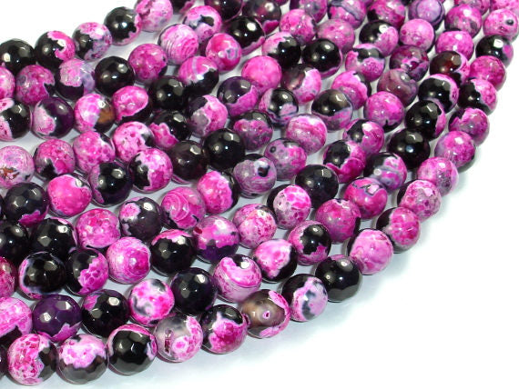 Agate Beads, Pink & Black, 8mm Faceted Round Beads, 15 Inch