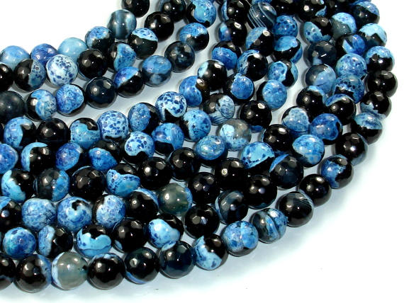 Agate Beads, Blue & Black, 8mm Faceted Round Beads, 15.5 Inch