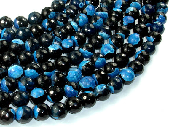 Agate Beads, Blue & Black, 10mm Faceted Round Beads, 15 Inch