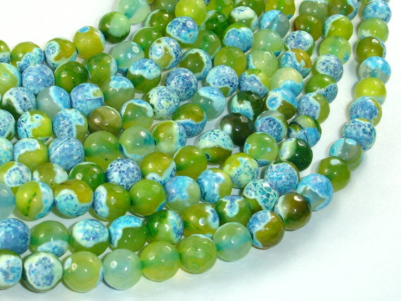 Agate Beads, Blue & Green, 8mm(8.4mm) Faceted-BeadBasic