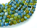 Agate Beads, Blue & Green, 10mm Faceted Round Beads, 15 Inch