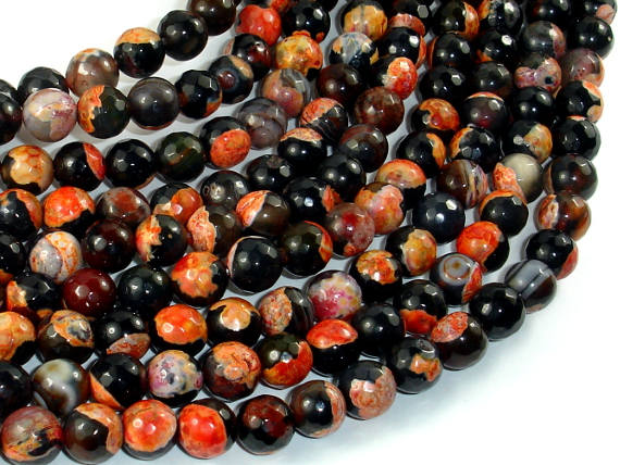 Agate Beads, Orange & Black, 8mm(8.3mm) Faceted-BeadBasic