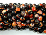 Agate Beads, Orange & Black, 8mm(8.3mm) Faceted Round Beads, 15 Inch