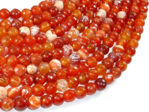 Fire Agate Beads, Orange & White, 8mm Faceted Round-BeadBasic