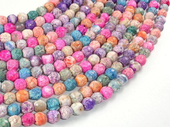 Crackle Agate Beads, Multi color, 6mm Round Beads-BeadBasic