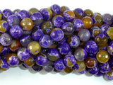 Agate Beads, Purple & Yellow, 8mm Faceted-BeadBasic