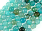 Light Blue Dragon Vein Agate Beads, 10mm Faceted Round-BeadBasic