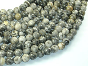 Gray Picture Jasper Beads, 8mm Round Beads-BeadBasic