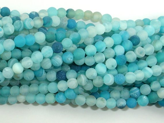 Frosted Matte Agate - Light Blue, 4mm Round Beads-BeadBasic