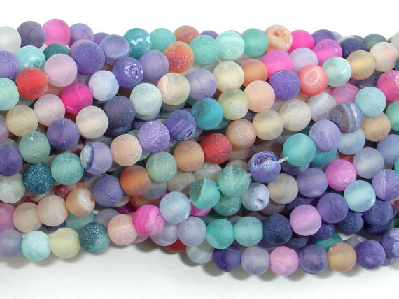 Frosted Matte Agate - Multi color, 4mm Round Beads-BeadBasic