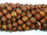 Crackle Tibetan Agate, 8mm(8.2mm) Round Beads, 14.5 Inch, Full strand