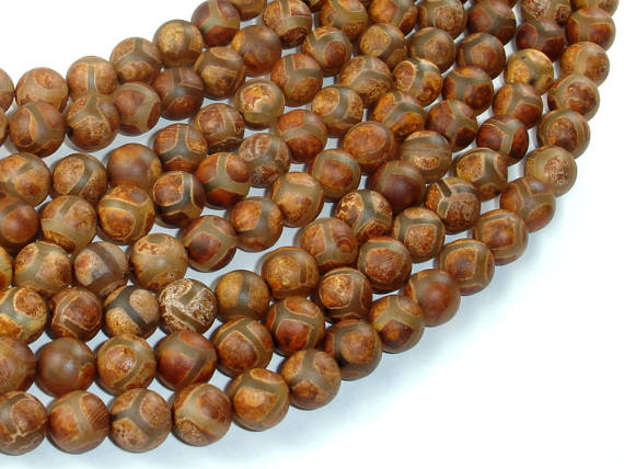 Tibetan Agate, 8mm Round Beads-BeadBasic
