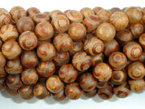 Tibetan Agate, 8mm (8.3mm) Round Beads-BeadBasic