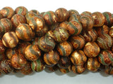 Crackle Tibetan Agate, 10mm(10.2mm) Round Beads, 14.5 Inch, Full strand
