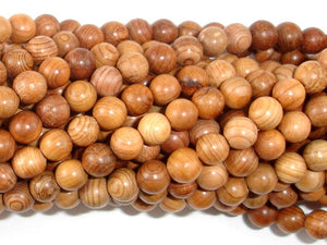 Taxus Chinensis Wood Beads, 6mm Round Beads-BeadBasic