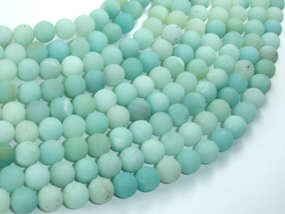 Matte Amazonite Beads, 8mm(8.2mm) Round Beads, 15.5 Inch, Full strand