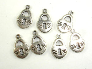 Lock Charms, Zinc Alloy, Antique Silver Tone, 10x14mm
