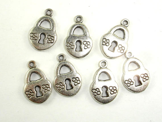 Lock Charms, Zinc Alloy, Antique Silver Tone 20pcs-BeadBasic