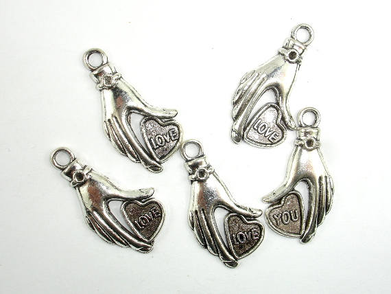 Hand Charms, Zinc Alloy, Antique Silver Tone, 16x31 mm