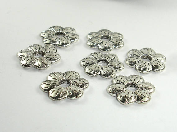 Metal Flower Spacer, Zinc Alloy, Antique Silver Tone, 16mm, 20 pcs, Hole 4mm (006870027)