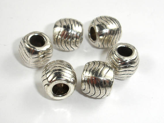 Metal Beads, Metal Spacer, Large Hole Round Spacer, Zinc Alloy, Antique Silver Tone, 10mm, 10 pcs, Hole 4.5mm (006852024)