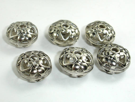 Metal Beads, Metal Hollow Flat Round Spacer, Zinc Alloy, Antique Silver Tone