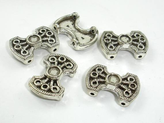 2 Hole Spacer, Zinc Alloy, Antique Silver Tone, 13x20mm, 10 pcs, Hole 1.5mm  (006855011)