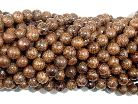 Gold Phoebe Ebony Beads, Gold Wire Sandalwood, 6mm Round Beads-BeadBasic