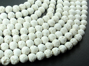 White Lava Beads, 8mm Round Beads, 15.5 Inch, Full strand