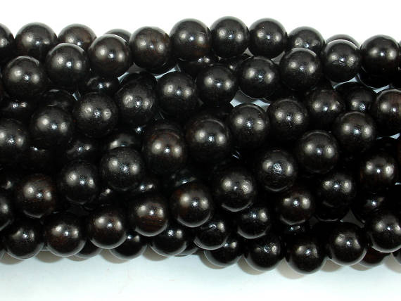 Black Sandalwood Beads, 10mm Round Beads-BeadBasic