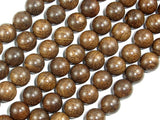 Gold Phoebe Ebony Beads, Gold Wire Sandalwood, 10mm Round Beads-BeadBasic